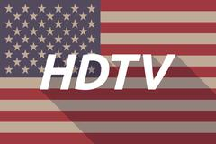 Long shadow USA flag with    the text HDTV Stock Illustration