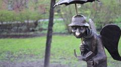Angel Of Saint-Petersburg Micro Sculpture In The Izmaylovsky Garden Stock Footage