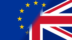 Brexit EU i GB Flags rotate.mov - stock footage