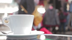 Coffee Mug On French Restaurant Time Lapse Stock Footage