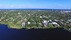 Aerial view of West Palm Beach on a sunny day, Florida Stock Footage
