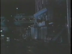 Women getting out of taxi and going to her apartment, New York City, 1980s Stock Footage