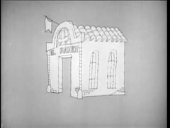 Cartoon of robber wheeling money out of a Spanish bank, 1960s Stock Footage