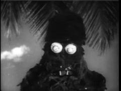 Medium shot of sea monster walking on beach, 1960s - stock footage