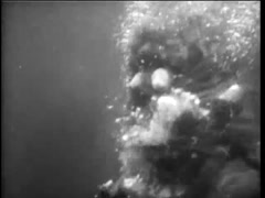 Underwater sea monster heading towards swimmers, 1960s Stock Footage