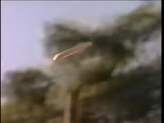 Panning shot of  frisbee flying in mid-air, 1970s - stock footage