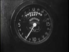 Close-up of altimeter in vintage aircraft, 1930s Stock Footage