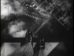 Point of view shot of man standing at the edge of airplane, 1930s Stock Footage