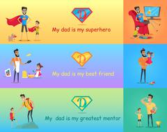 Super Dad with his Kids - stock illustration