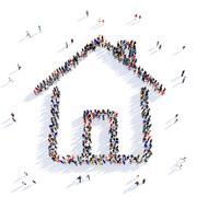 People house shape 3d Stock Illustration