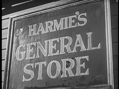 Close-up of Harmie's General Store sign, 1940s Stock Footage