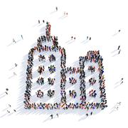 people skyscraper shape 3d - stock illustration