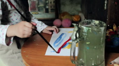 Hand Drawing Picture From Cute Little Baby Painter Stock Footage
