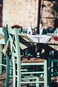 Empty greek cafe on Crete Island, Greece Stock Photos