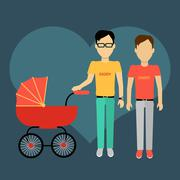 Father with a Baby Carriage Banner Stock Illustration