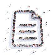 people document shape 3d - stock illustration