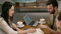 Business meeting in cafe. architectural sketch Stock Footage