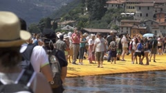 "Christo and Jeanne-Claude's ""Floating Piers"" -  Slow Motion Dolly Stock Footage"