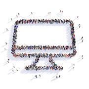 people monitor shape 3d - stock illustration