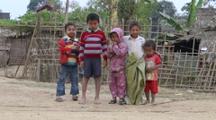 Poor children on the street. Poverty is a major issue in Burma, Myanmar Stock Footage