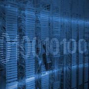 Binary code on digital screen against view of data technology Stock Illustration