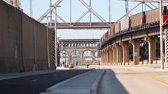 Train on tracks above Laclede's Landing - stock footage
