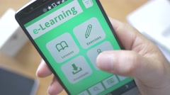 4K e-Learning App on Smartphone Display Stock Footage