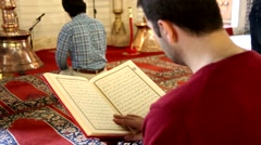 Quran reading, worship at the mosque Stock Footage