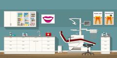 Illustration of a dentist room - stock illustration