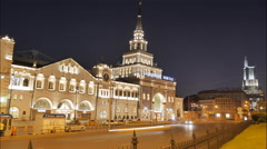 Moscow, Kazan railway station, night car traffic, timelapse Stock Footage