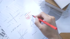 4K Maths Problem Solving - Desk Top View Stock Footage
