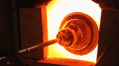 Firing glass in a kiln Stock Footage