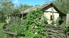 Old Ukrainian house and a boat Stock Footage