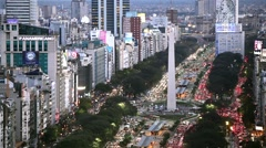Night aerial view of Buenos Aires Obelisco 9 de julio at rush hour cityscape Stock Footage