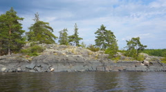 Beautiful landscape on Ladoga lake in Karelia Stock Footage