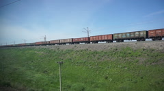 Freight train moving on the rails Stock Footage