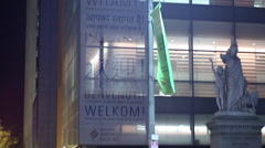 Welcome Sign Various Languages Night Stock Footage