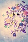 Grunge Summer Girl with Floral Stock Illustration