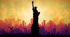Focus on liberty statue  against artistic cityscape design - stock illustration