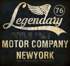Motorcycle racing legendary typography, t-shirt graphics, vectors Stock Illustration