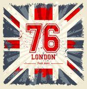 Vintage United Kingdom flag tee print vector design - stock illustration