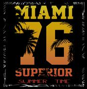 Vector illustration of a cool surfing in Miami. Miami surfing design for grap Piirros