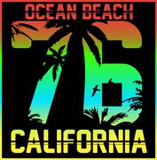 California typography, t-shirt graphics, vectors Stock Illustration