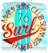 Surf Illustration / t-shirt graphics / vectors/ typography/ pacific surf wave - stock illustration