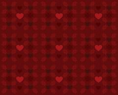 Red pattern with hearts - stock illustration