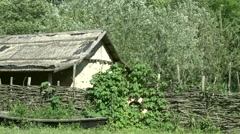 Zoom out cute Ukrainian house in forest Stock Footage