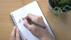 4K Top View Writing ACTION PLAN on a Notebook Stock Footage