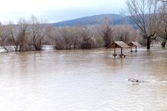 River burst its banks - stock photo