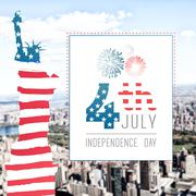 Independence day graphic against aerial view of new york Stock Illustration