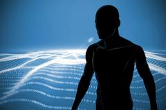 Image of a black character against digitally generated binary code landscape - stock illustration